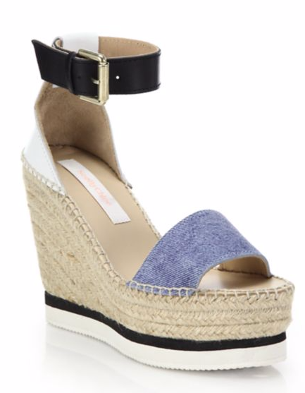 See by Chloe Glyn Chambray Espadrille Wedge Platform Sandal